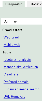 Google Webmaster Tools - Diagnostic View Menu